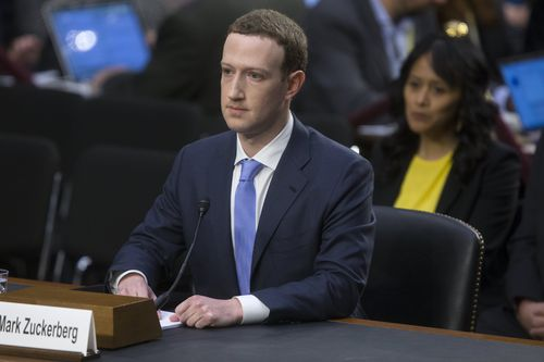 A cushion was brought in for Zuckerberg to sit on for the hearing. (AAP)