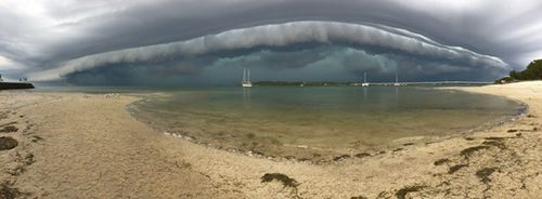 The storm as it approached Bribie Island.