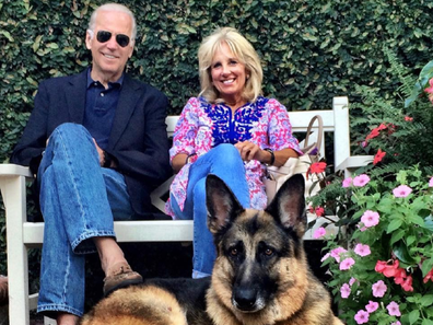 Joe and Jill Biden with one of their dogs