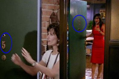 This ones a little confusing. <br/><br/>Monica starts off living in apartment number five, before producers realise she's meant to live on a higher floor. <br/><br/>Quicker than Joey can eat a sandwich, Monica's door number changes from five to twenty. <br/><br/>If only moving was always that simple. <br/><br/>