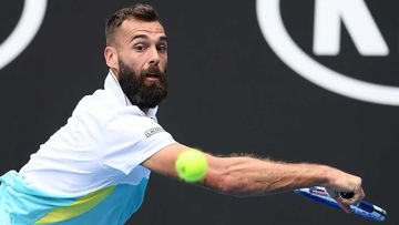 Benoit Paire of France reacts during his Men's Singles second round match against Marin Cilic of Croatia.