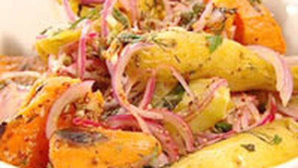 Warm potato and kumara salad