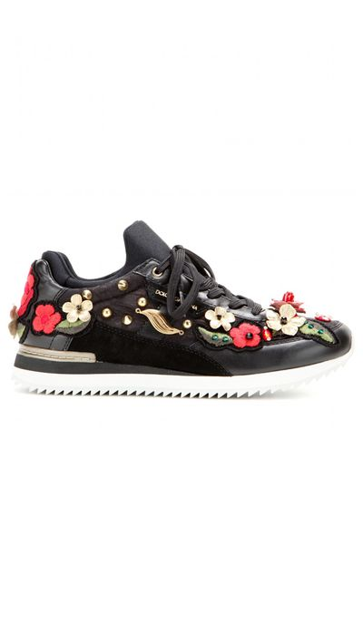 """<a href=""""http://www.mytheresa.com/en-au/embroidered-leather-sneakers.html"""" target=""""_blank"""">Sneakers, $1140, Dolce & Gabbana at myteresa.com</a>"""