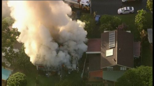 Fire crews arrived to find the home at Ferny Hills completely engulfed in flames. (9NEWS)