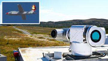 Futuristic laser weapon tracks and destroys 'enemy' drones