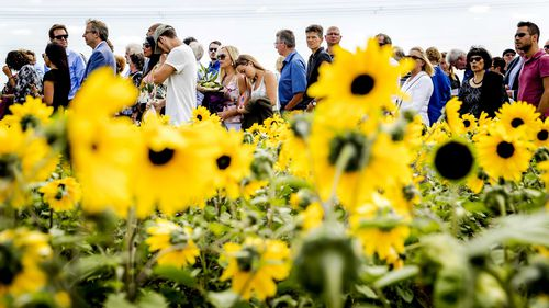 Relatives attend the unveiling ceremony of the National Monument for the MH17 plane crash victims in Vijfhuizen, the Netherlands. (AAP)