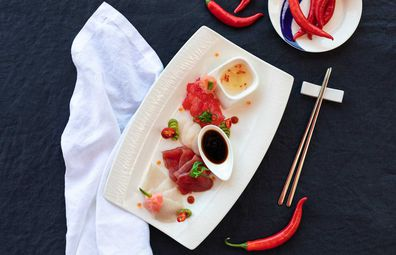 Infinity's sashimi platter entree.