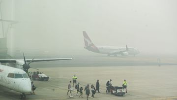 Thick smoke haze at Canberra Airport