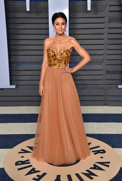 Emmanuelle Chriqui in Pamella Roland at the 2018 Vanity Fair Oscars After Party