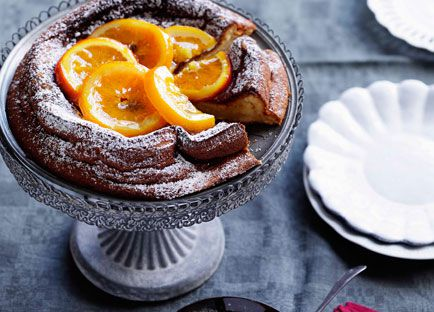 Olive oil and vin santo torta with candied oranges