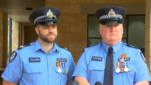 Senior Constable Ian Southall and Sergeant Brett Cassidy were honoured for their work in the aftermath of the Margaret River shooting tragedy.