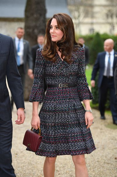 "The Duchess of Cambridge couldn&rsquo;t have paid better homage to the fashion capital of the world on her two-day tour of Paris, than by wearing a look entirely from Chanel. <br /> <br /> Although she stayed away from <a href=""https://style.nine.com.au/2017/03/13/16/42/glitter-boots-winter"" draggable=""false"" target=""_blank"">glitter boots</a>, Kate embraced French fashion at its finest.&nbsp; Wearing an elegant tweed dress, paired with a tote handbag in a rich wine colour fitted with a&nbsp;sleek gold handle, perhaps the highlight of the entire look, Kate was top-to-toe in Karl Lagerfeld's finest.<br /> <br /> The Duchess of Cambridge, is renowned worldwide for her impeccable style and ability&nbsp;to find outfits that represent the perfect balance between her own style and the particular culture or country she's visiting.<br /> <br /> Although we can&rsquo;t get enough of this Chanel outfit, her other Brit-loyal looks certainly don&rsquo;t disappoint for her time in the City of Lights"