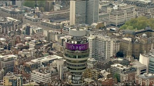 The BT Tower in London celebrates the birth. (9NEWS)