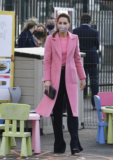 Kate Middleton, Duchess of Cambridge looks around the playground during a visit with Prince William to School21, a school in east London, Thursday March 11, 2021.