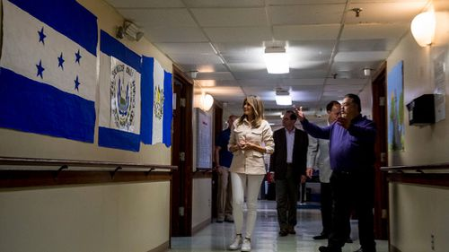 First Lady Melania Trump takes a tour at the Upbring New Hope Children Center in McAllen, Texas. Picture: AP