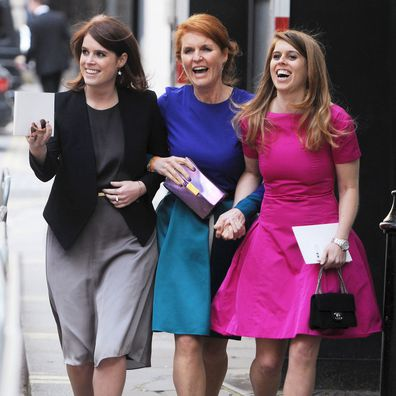 The Duchess of York with Princess Beatrice and Princess Eugenie.