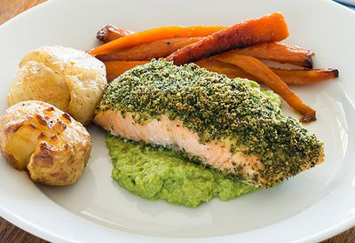 Herbed salmon with pea puree