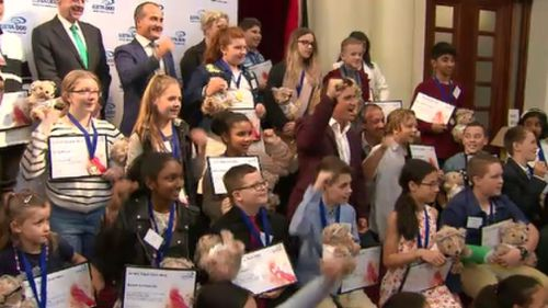 Thirty-one brave Victorian kids were honoured at Parliament House today. (9NEWS)