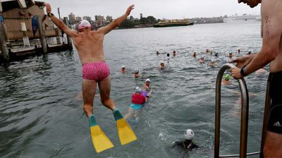 Despite appearances, this man is not our PM. A swimmer dives in wearing budgie smugglers and flippers. (AAP)