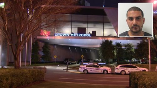 Police with to speak with Elias Herodotou (inset) in relation to the death of a man at Crown Metropol on Sunday. (9NEWS)