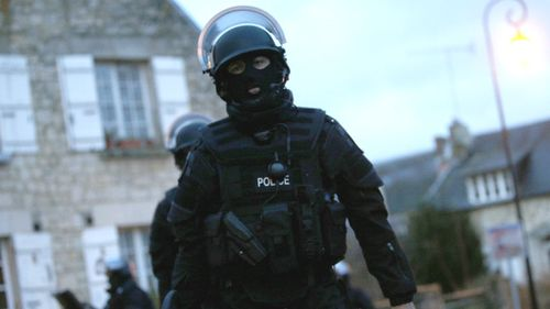 French police patrol Longpont and Villers Cotterets, north-east of Paris, for brothers  Cherif Kouachi, 32, and Said Kouachi, 34, who are suspected of carrying out a violent attack on a satirical French magazine that left 12 people dead. (AAP)