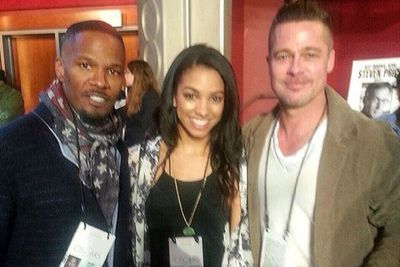 @iamjamiefoxx: Brad Pitt, my beautiful daughter Corinne, and I at the Oscar rehearsals. Get ready! #Oscars2014