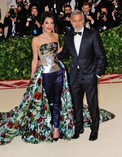 George and Amal Cooney, in Richard Quinn, at the 2018 Met Gala Ball