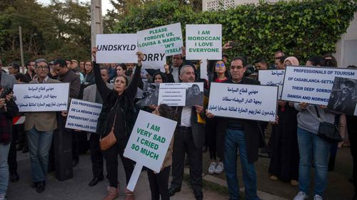People of Morocco crowded outside the Danish embassy to offer their condolences.