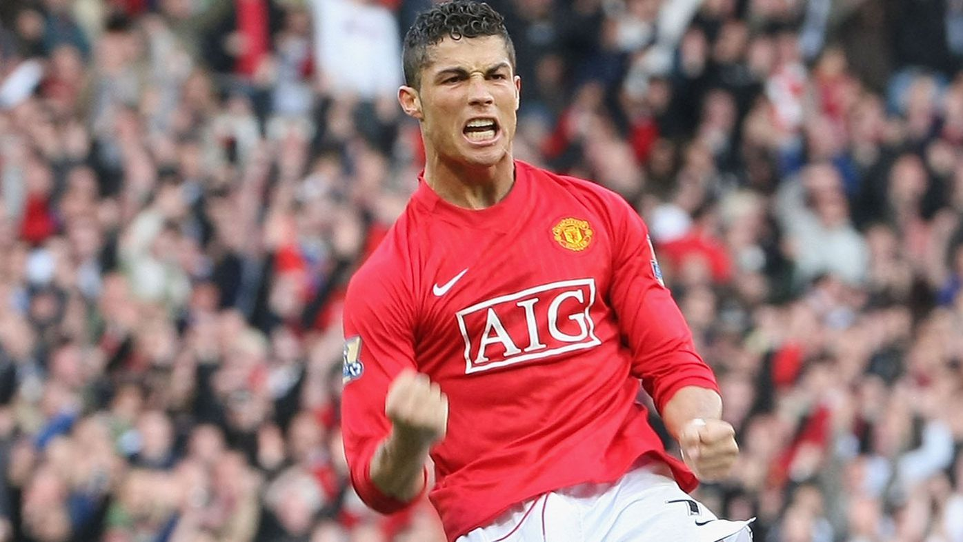 Cristiano Ronaldo of Manchester United celebrates scoring their second goal during the Barclays Premier League match between Manchester United and Aston Villa at Old Trafford on April 5 2009, in Manchester, England. (Photo by Matthew Peters/Manchester United via Getty Images)