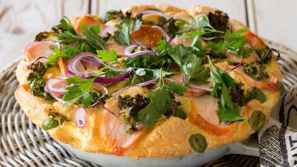 Huon Hot smoked salmon souffle omelette recipe. Image: Huon