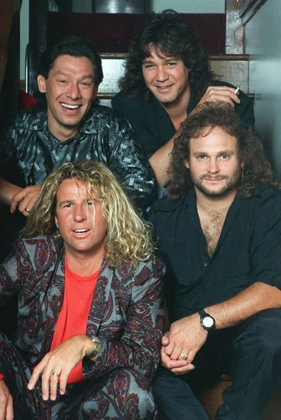 The rock group Van Halen, clockwise from left: Alex Van Halen, Eddie Van Halen, Michael Anthony and Sammy Hagar appear in a 1988 photo