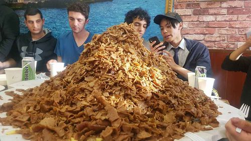 Some of the kids survey the $600 halal snack pack. (Istanbul on Parra/Facebook)