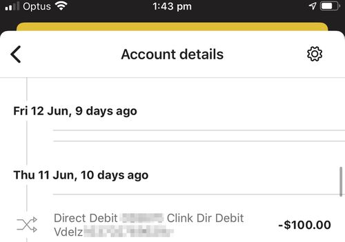 A screenshot showing the last direct debit made by Centrelink to pay of Ms Rumley's robodebt.