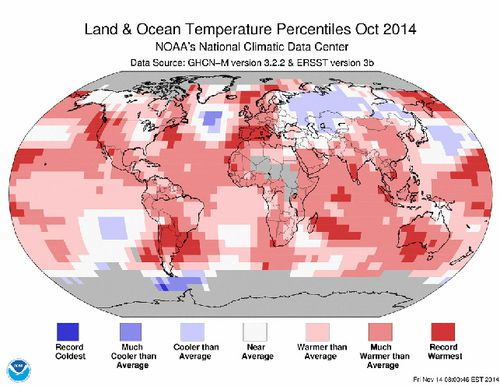 Average land and ocean temperatures, October 2014. (NOAA)