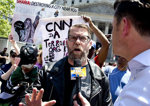 The alt-right leader and former co-founder of Vice Magazine Gavin McInnes attends an Act for America rally to protest sharia law in Foley Square in New York City. Members of the Oath Keepers and the Proud Boys, right wing Trump supporting groups that are willing to directly confront and engage left-wing anti-Trump protestors, attended the event.
