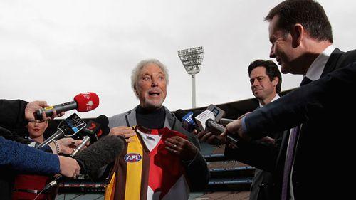 Sir Tom Jones speaks to the media ahead of the AFL Grand Final. (Getty)
