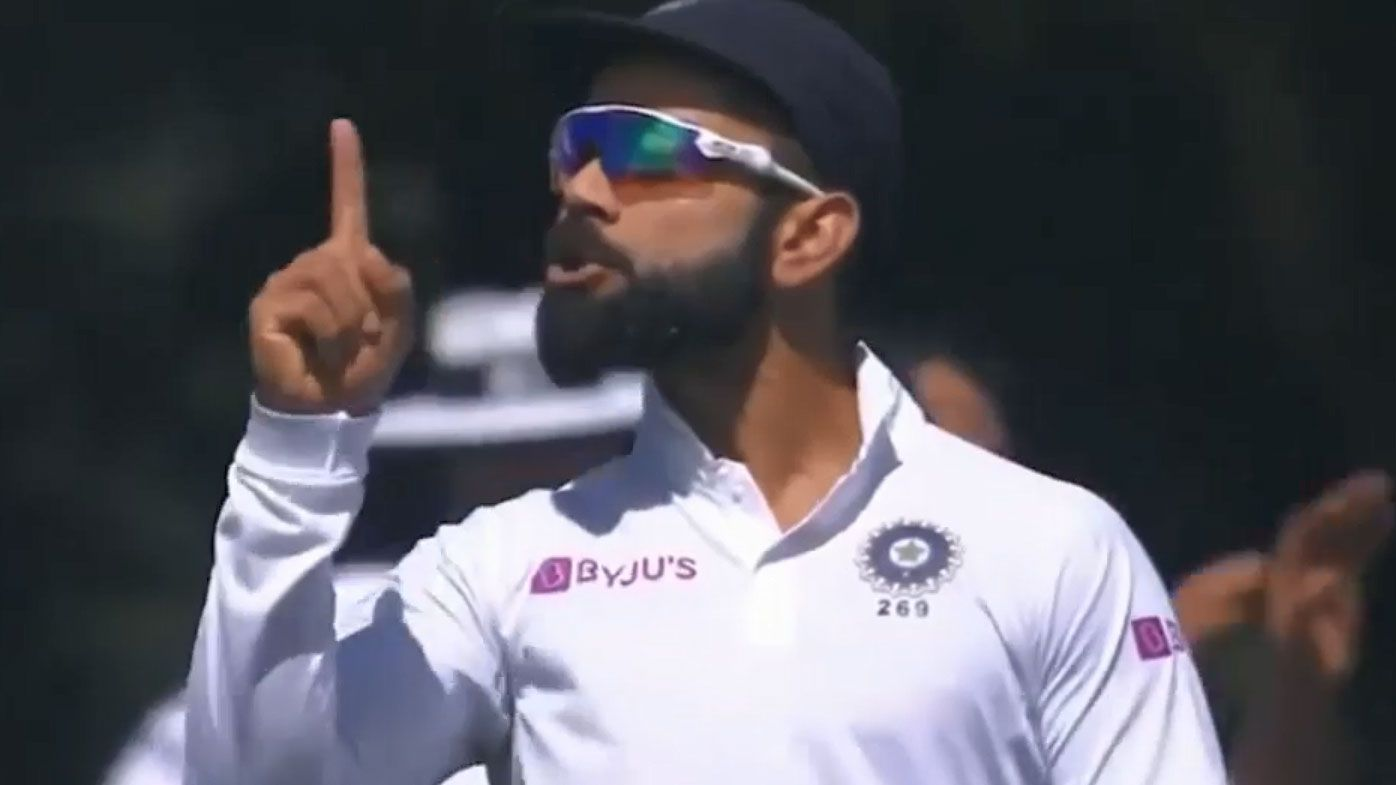 Virat Kohli fires up at the crowd during the second New Zealand Test (Twitter)