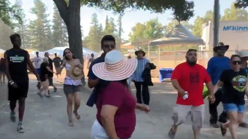 Gun shots ring out at the Gilroy Garlic Festival, with reports people were 'dropping like flies'. Image courtesy: Twitter via wayvia
