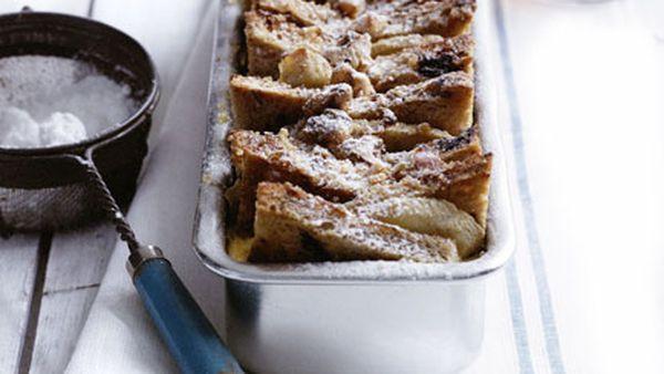 Maple, banana and walnut bread pudding
