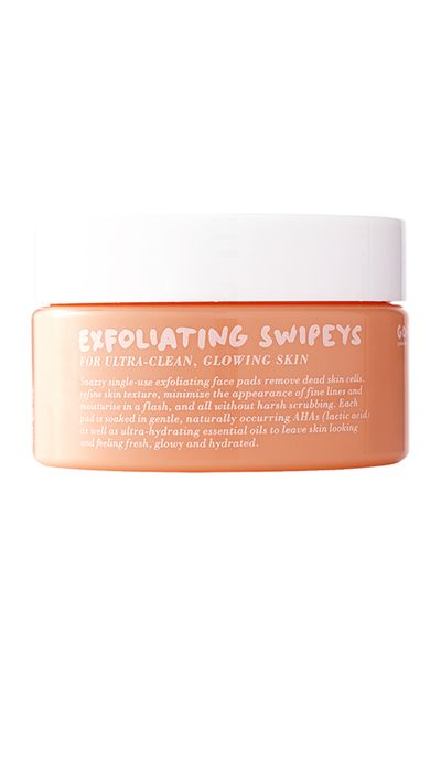 "<a href=""http://www.gotoskincare.com/natural-skincare/exfoliating-swipeys/"" target=""_blank"">Exfoliating Swipes, $49.95, Go-To</a>"
