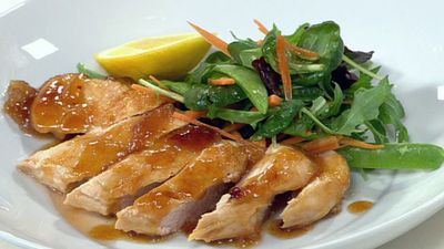 "Recipe:&nbsp;<a href=""http://kitchen.nine.com.au/2016/05/19/12/06/warm-lemon-and-ginger-chicken-salad"" target=""_top"" draggable=""false"">Warm lemon and ginger chicken salad<br> </a>"