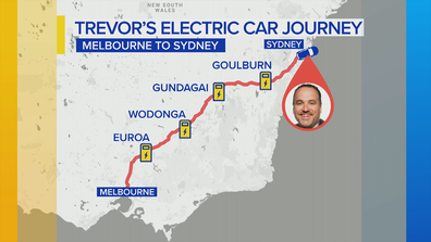 Starting in Melbourne, Mr Long has mapped out the charging stations along the Hume Highway prior to commencing his journey.