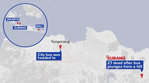 At least 27 people killed in Indonesia bus crash