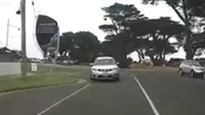 Tourist filmed driving on wrong side of Victorian road