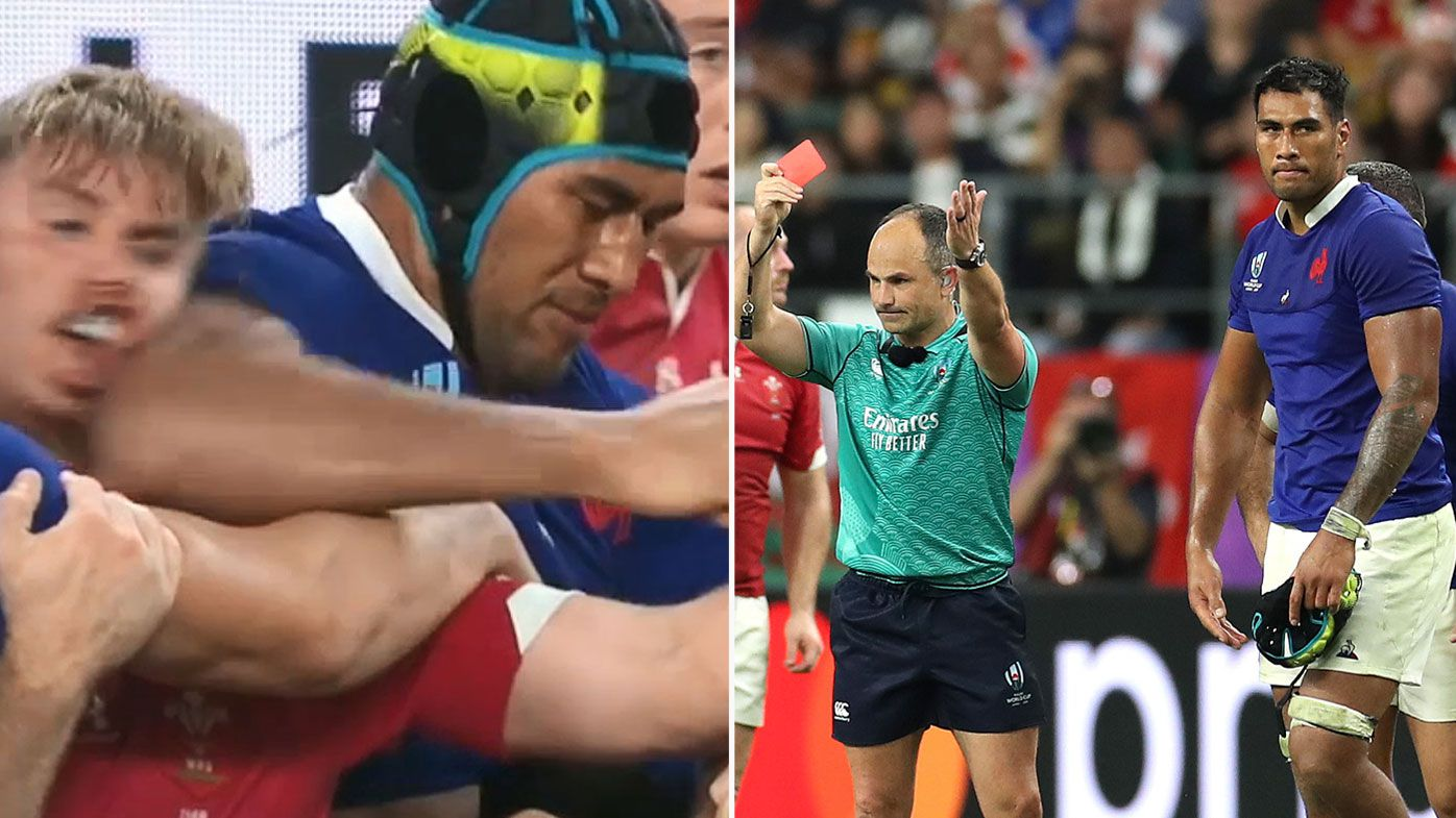 'Awful disgrace': Referee Jaco Peyper photographed mimicking Vahaamahina's elbow with Welsh fans