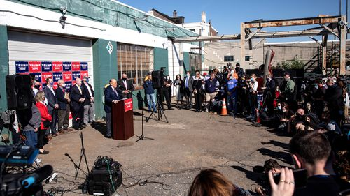 Attorney for the President, Rudy Giuliani speaks to the media at a press conference held in the back parking lot of landscaping company Four Seasons Total Landscaping in Philadelphia