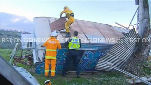 A caravan tipped south of Adelaide. (9NEWS)