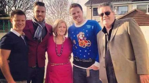 The Mrs Duffy in question ... Pauline and Martin Duffy pictured with their three sons, from left, Paul, Martin and Darren. (Source: Facebook)