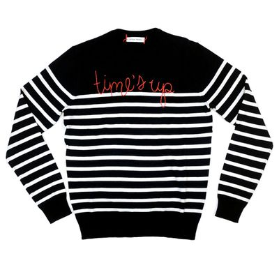 "<a href=""https://linguafranca.nyc/collections/lf-for-times-up/products/times-up-stripe"" target=""_blank"" draggable=""false"">Lingua Franca Time's Up stripe sweater, $485.70</a>"