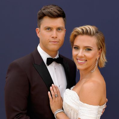 Scarlett Johansson and Colin Jost arrive at the 70th Annual Primetime Emmy Awards held at the Microsoft Theater on September 17, 2018.
